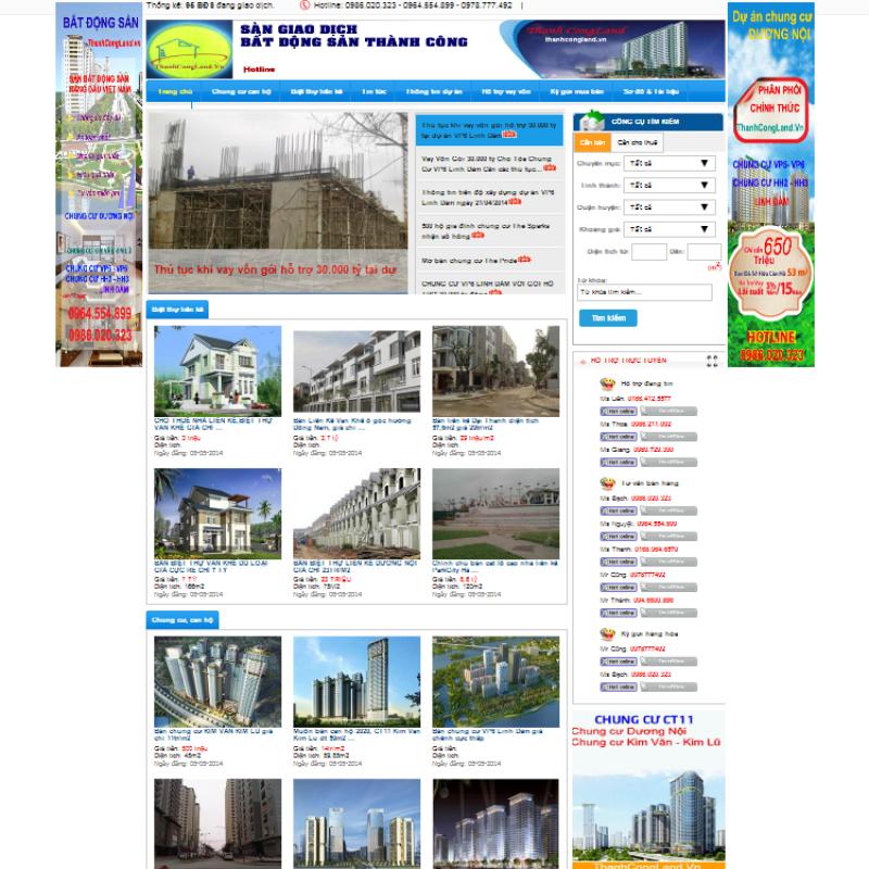 AKRwebvietC42 – Mẫu thiết kế website bất động sản thanhcongland.vn