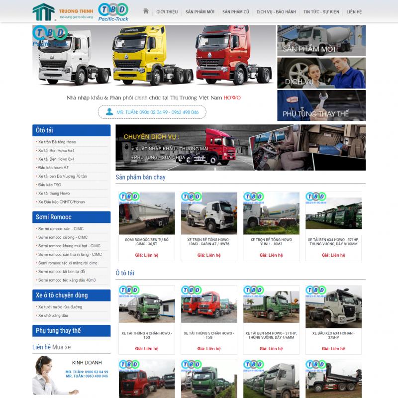 AKRwebvietC83 – Thiết kế website Xe trộn bê tông, Xe Ben, Đầu Kéo pacific-truck.vn